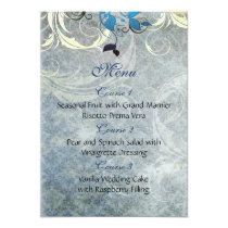 blue leaves winter wedding menu card
