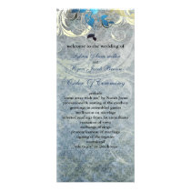 blue leaves winter wedding program