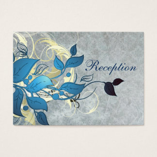 blue leaves winter wedding reception cards