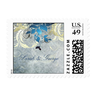 blue leaves winter wedding stamps