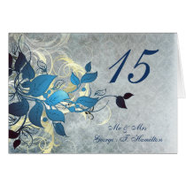 blue leaves winter wedding table seating card
