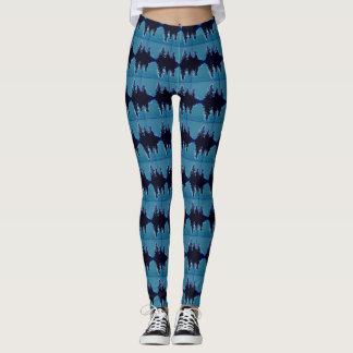 Blue leggings black pattern