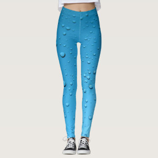 Blue Leggings Water Droplets Yoga Pants