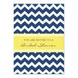 Blue Lemon Chevron Bridal Shower Invitation Cards