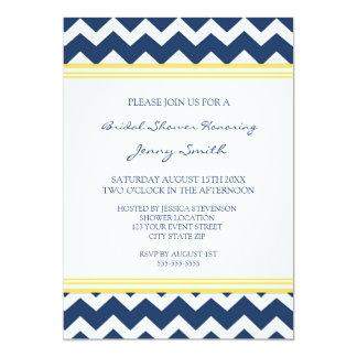 "Blue Lemon Chevron Bridal Shower Invitation Cards 5"" X 7"" Invitation Card"