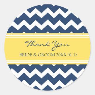 Blue Lemon Chevron Thank You Wedding Favor Tags Classic Round Sticker