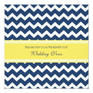 "Blue Lemon Chevron Wedding Vow Renewal Invitations 5.25"" Square Invitation Card"