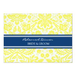 Blue Lemon Damask Rehearsal Dinner Party 5x7 Paper Invitation Card