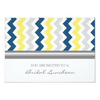 Blue Lemon Gray Chevron Bridal Lunch Invitation