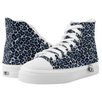 Blue Leopard Animal Patterns High-Top Sneakers