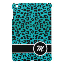 Blue Leopard Animal Print Custom Monogram iPad Mini Cases