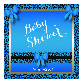 Blue Leopard Animal Print for a Baby Shower Card