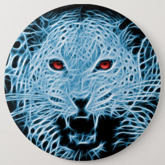 Blue leopard artistic illustration pinback button
