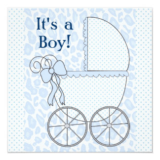 Blue Leopard Baby Carriage Baby Boy Shower 5.25x5.25 Square Paper Invitation Card