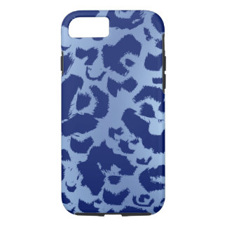 Blue Leopard Jaguar Print Dark Light Gradient iPhone 8/7 Case