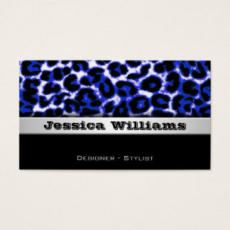 Blue Leopard Modern Professional Business Cards