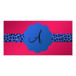 blue leopard pattern stripe monogram pink photo greeting card