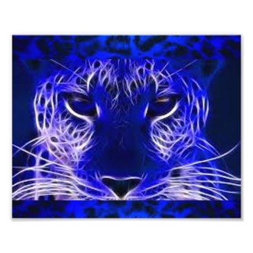 Art Themed Blue Leopard Photo Print
