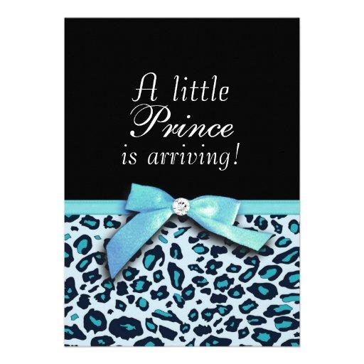 blue leopard print boy baby shower invitation 5 x 7 invitation ca