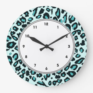 Blue leopard print wallclock