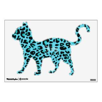 Blue Leopard Print Kitty Wall Sticker