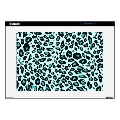 Blue leopard print laptop decal