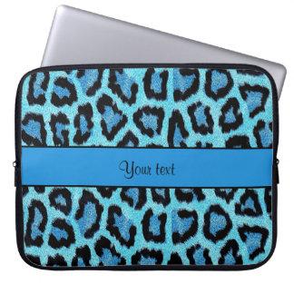 Blue Leopard Print Laptop Sleeve