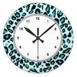 Blue leopard print large clock
