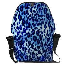 Blue leopard print messenger bag