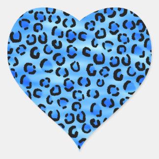 Blue Leopard Print Pattern. Heart Stickers