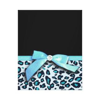 Blue leopard print ribbon bow graphic