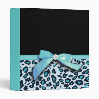 Blue leopard print ribbon bow graphic binder