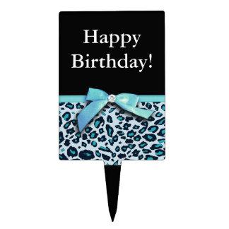 Blue leopard print ribbon bow graphic cake topper
