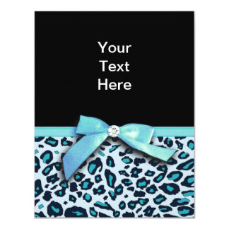 Blue leopard print ribbon bow graphic card