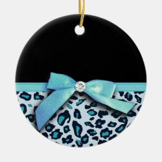 Blue leopard print ribbon bow graphic ceramic ornament