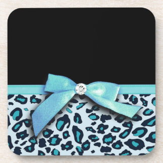 Blue leopard print ribbon bow graphic coaster
