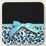 Blue leopard print ribbon bow graphic drink coaster