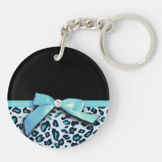 Blue leopard print ribbon bow graphic keychain