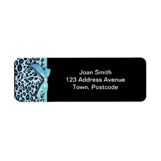 Blue leopard print ribbon bow graphic label