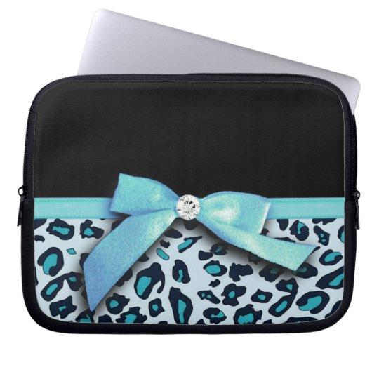 Blue leopard print ribbon bow graphic laptop sleeve
