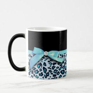 Blue leopard print ribbon bow graphic magic mug