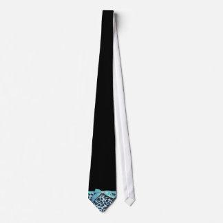 Blue leopard print ribbon bow graphic neck tie