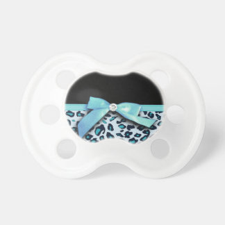 Blue leopard print ribbon bow graphic pacifier