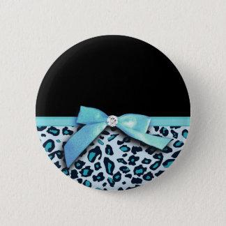 Blue leopard print ribbon bow graphic pinback button