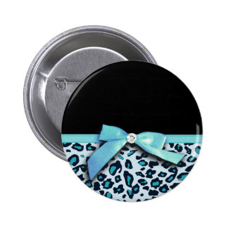 Blue leopard print ribbon bow graphic pinback button