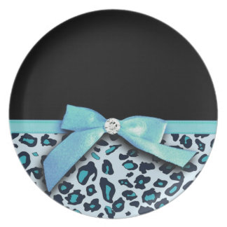 Blue leopard print ribbon bow graphic dinner plates