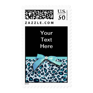 Blue leopard print ribbon bow graphic postage