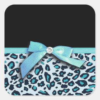Blue leopard print ribbon bow graphic square sticker