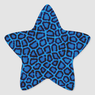 Blue Leopard Print Star Sticker