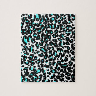 Blue Leopard Spots Pattern Jigsaw Puzzle